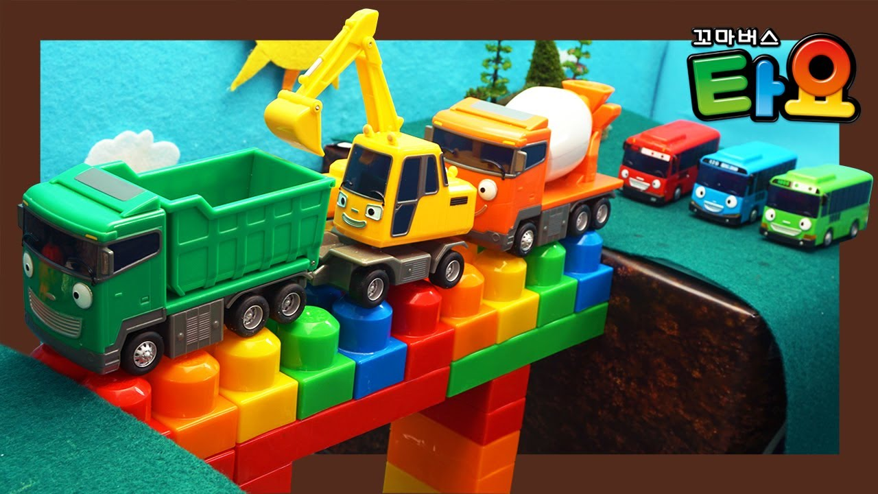 Strong Heavy Vehicles Learn Colors | Build a bridge l Heavy Vehicles Lego Play l Tayo the Little Bus