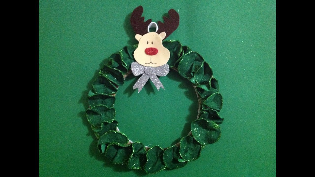 Corona de navidad reno christmas reindeer wreath youtube - Como hacer coronas de navidad ...