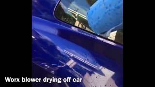 How fast can a leaf blower dry off a car