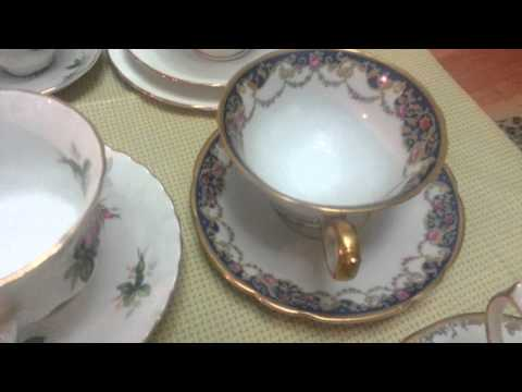 Antique Bone China Cup and Saucer Collection