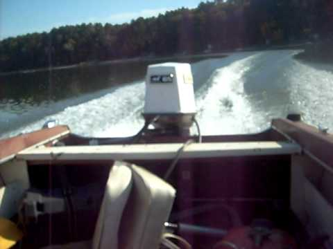 65hp johnson outboard running on vintage silverline boat for Buy bass boat without motor