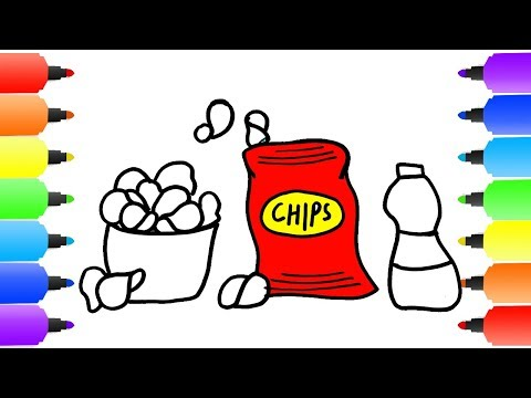 How to Draw Potato Chips. Coloring Pages Crisps Set. Drawings and Art Colours for Kids