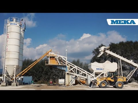 MEKA MOBILE CONCRETE BATCHING PLANT WITH MOBILE PRE-FEEDING SYSTEM IN OPERATION