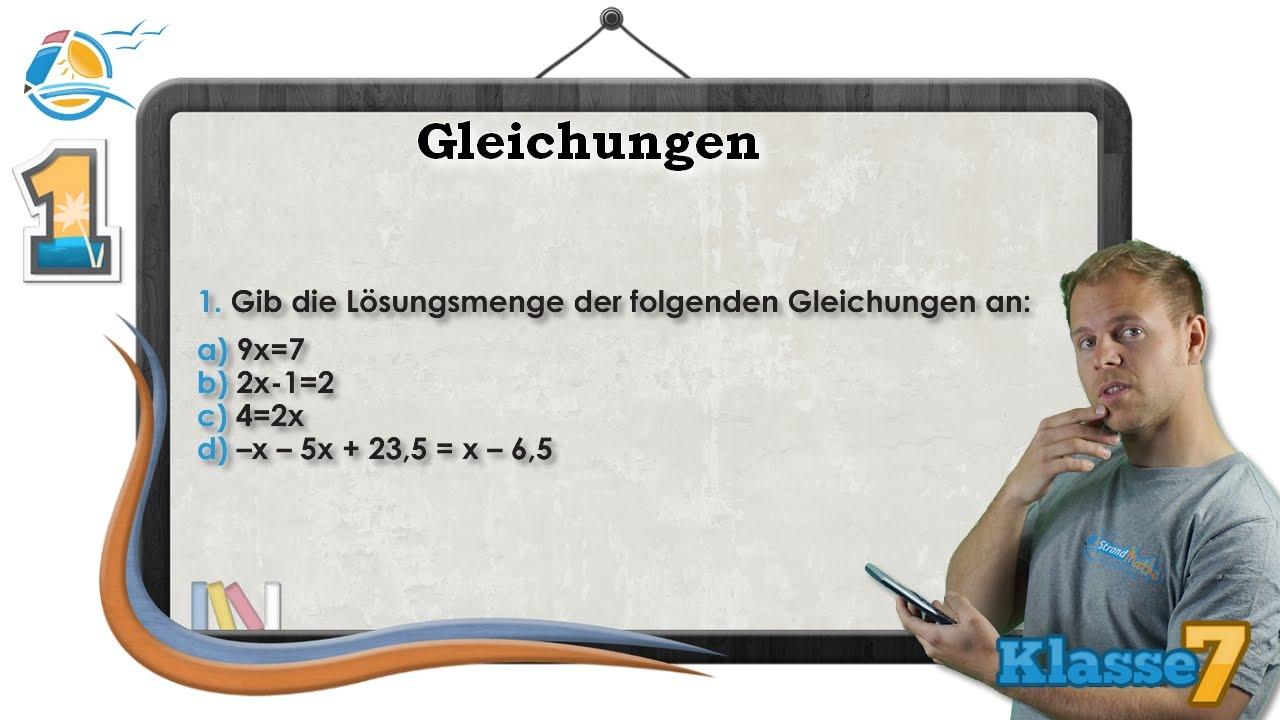 Gleichungen verstehen || Klasse 7 ☆ Übung 1 - YouTube