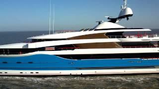 99 meter super yacht ''Dream'' sailing out for sea trials. (Madame Gu)