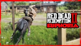 RDR2 Euphoria ragdoll physics with Horse Crashes Compilation Gameplay/ Xbox One X/ PART 2