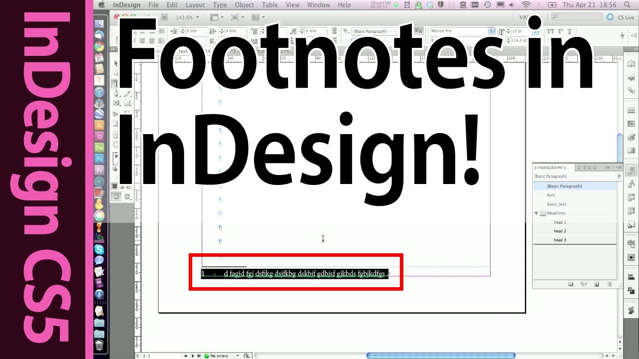 InDesign Footnotes and Paragraph styles - CS223 Tutorial (Part 23b)