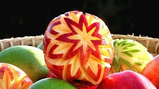 Art In Apple Lucky Stars | Apple Art | Fruit Carving Apple Garnishes