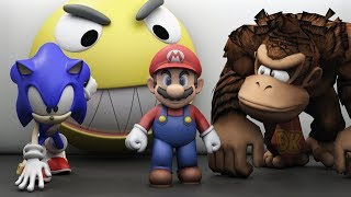 Pacman vs Mario Sonic and Donkey Kong world