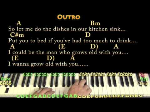 Grow Old With You (Adam Sandler) Piano Lesson Chord Chart in A with Chords/Lyrics