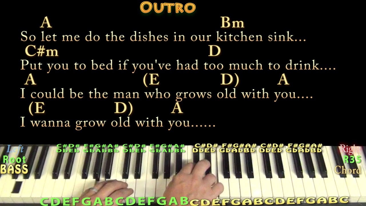 Grow Old With You (Adam Sandler) Piano Lesson Chord Chart in A with ...