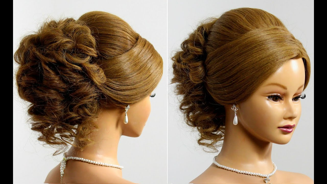 Prom hairstyle for long medium hair tutorial. Wedding updo