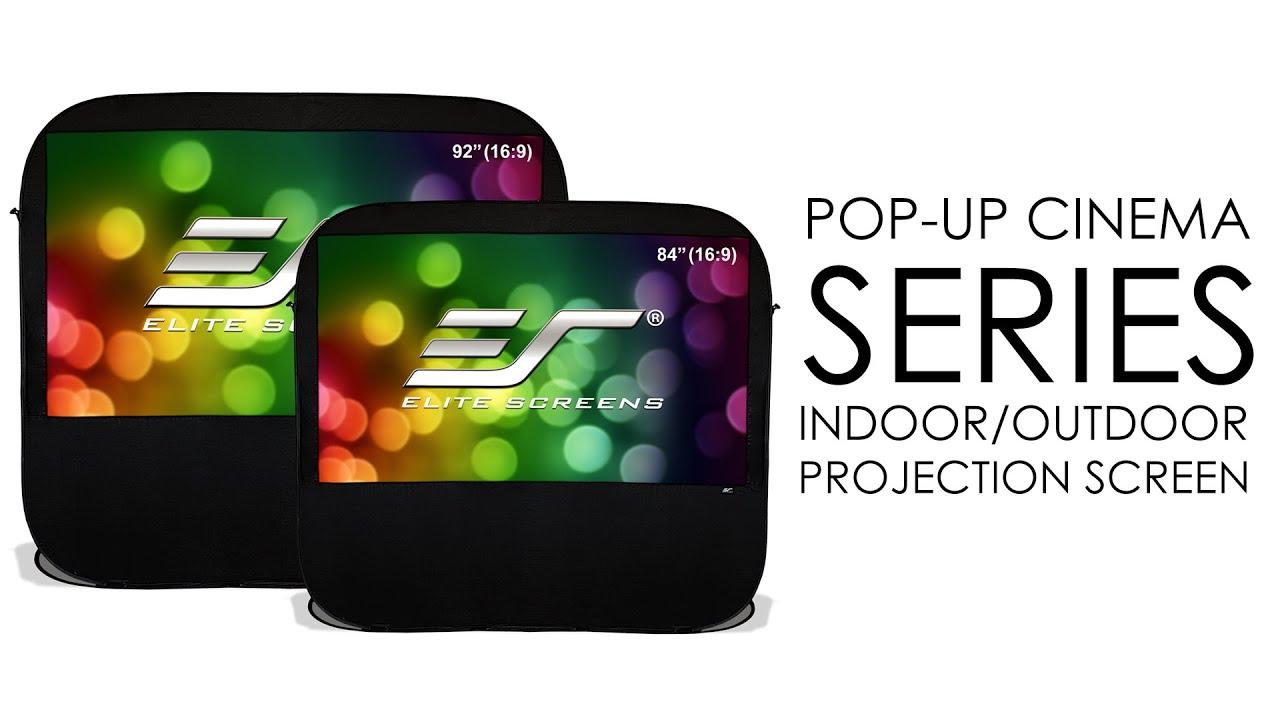 elite screens pop up cinema series indoor outdoor projection