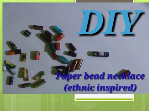 DIY: Paper bead necklace (ethnic inspired) using colored magazines