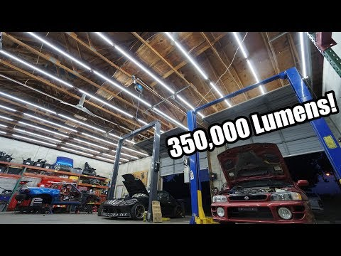 EPIC Shop Lighting Upgrade! 50 Big Lights In One Shop! (INSANELY BRIGHT!!)