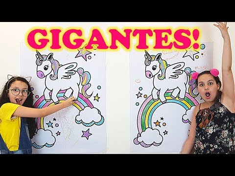 DESAFIO COLORINDO COM 3 CORES UNICÓRNIO GIGANTE | giant 3 marker challenge | Hora da Mari ft Luluca