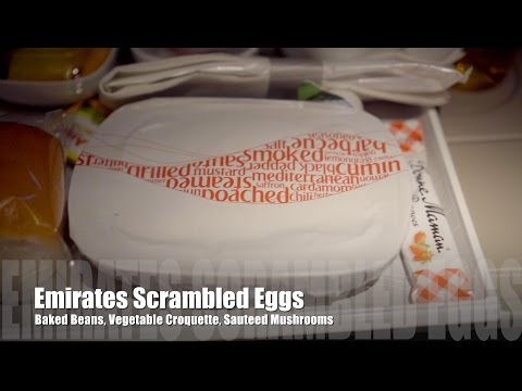 Emirates EK656 Dubai - Male Breakfast Scrambled Eggs,  Sri Lankan Fish Curry