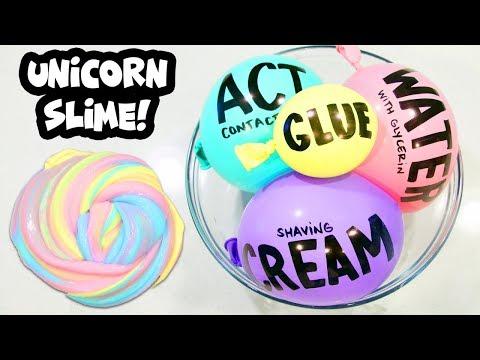 Making Satisfying Unicorn Slime with Balloon Cutting!