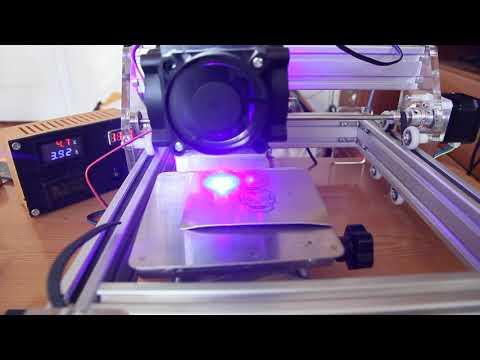 DIY Endurance (Eleksmaker board) 10 watt laser demo. Engraving on anodized aluminum.