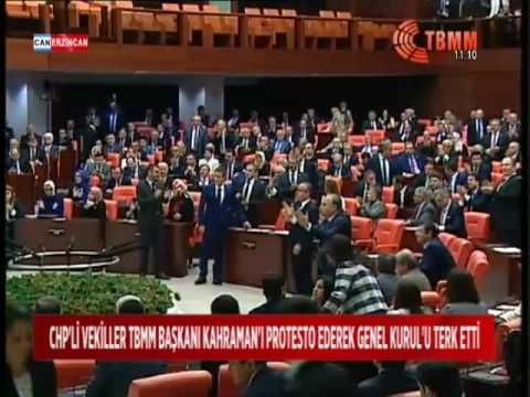 CHP'Lİ VEKİLLER TBMM BAŞKANI KAHRAMAN'I PROTESTO EDEREK GENEL KURUL'U TERK ETTİ