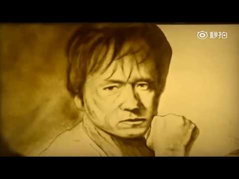 Stunning Face Portrait In Sand Art Of Jackie Chan