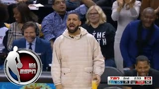 Kevin Durant misses dunk and Drake tells him the shot was trash | ESPN