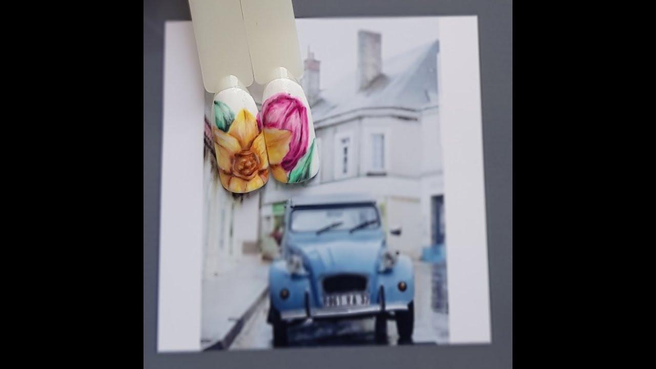 Цветочный маникюр. Весенний дизайн ногтей. Цветы гель-лаком