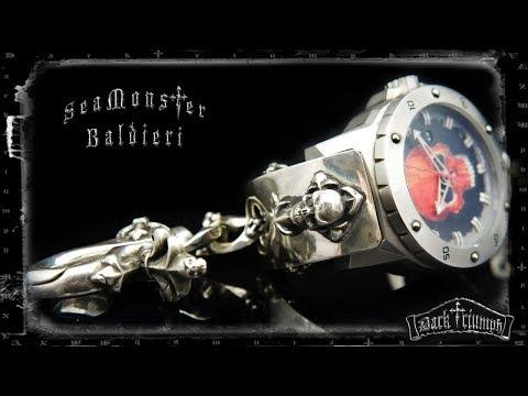 Alessandro Baldieri Watch on Black Diamond Skull Cross Bracelet in Sterling Silver   SEAMONSTER