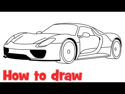 как нарисовать porsche 918 карандашом
