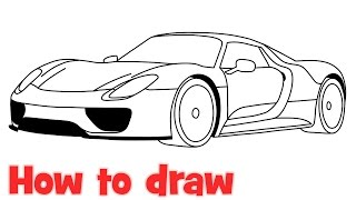 How to draw a car Porsche 918 Spyder step by step