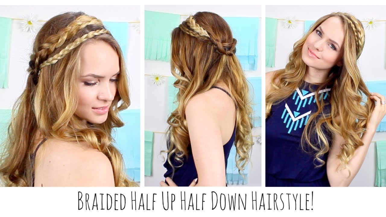 Boho Braided Half Up Half Down Hairstyle Youtube