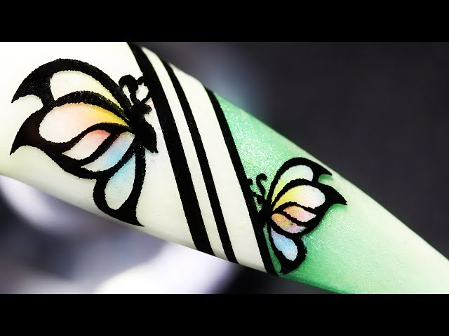 How To Create Butterfly Coloring With Pigment Foil Water Decal Gel Nail Art Design
