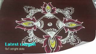 simple lotus rangoli design with 9x1 straight dots || beautiful lotus kolam designs