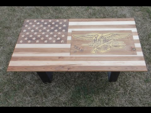 American flag coffee table with Military inlay