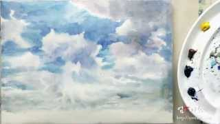Umtart : 수채화 시골 하늘 그리기  4색 Watercolor Painting Field And Sky Four-color
