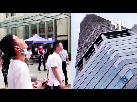 People run from shaking skyscraper in Shenzhen