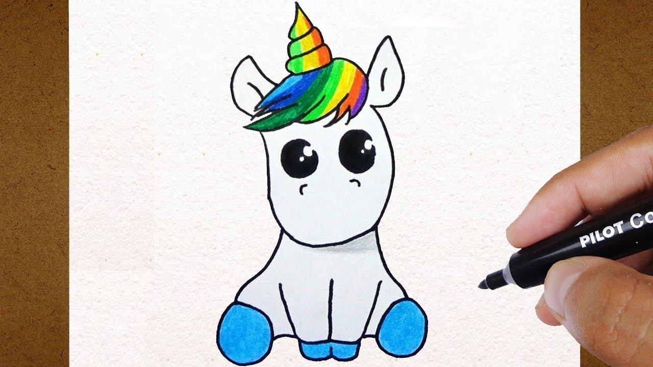 Como Desenhar Um Unicórnio Kawai How To Draw Colorindo E Desenhando