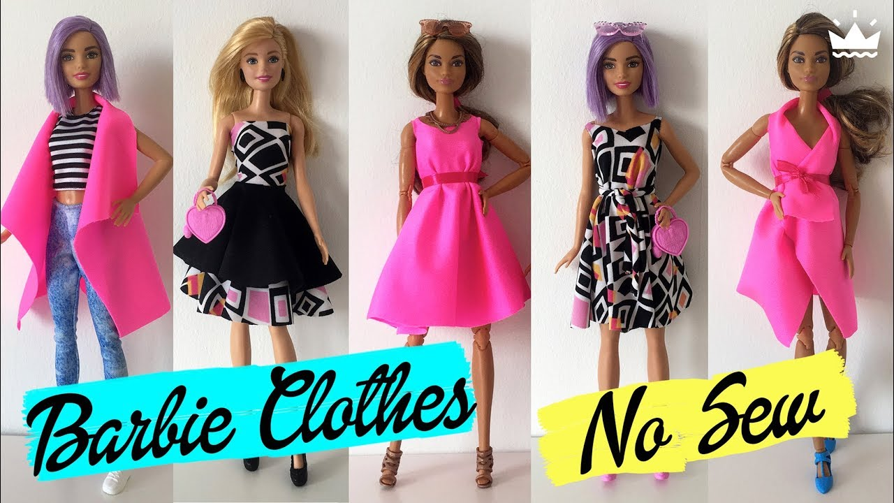 How To Make No Sew Barbie Clothes Dresses Skirt Top And