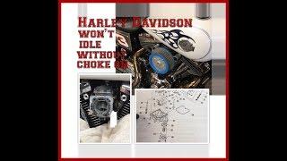 Harley Davidson won't idle without choke on - Problem FIXED