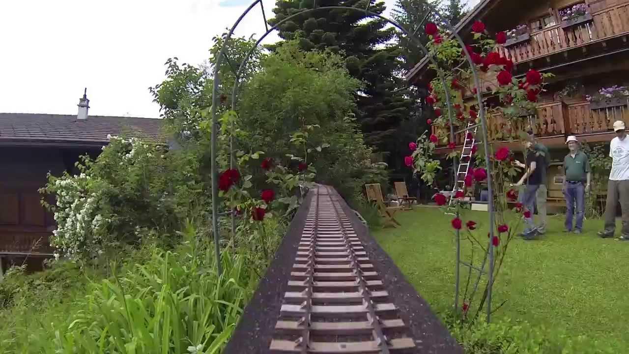 Cam ra embarqu e sur un train de jardin youtube for Jardin ferroviaire