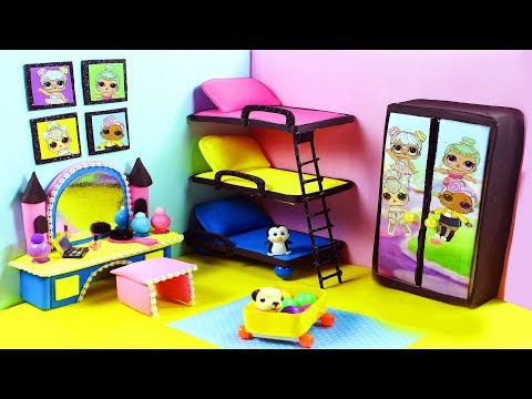 DIY Miniature LOL Doll Bedroom for LOL Dolls With Triple Bunk Beds