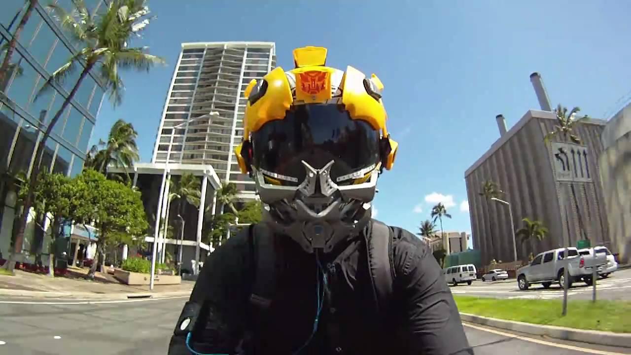 Bumblebee Custom Motorcycle Helmet On Yamaha R1 Gopro Hero