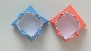 簡單折紙 收納盒 四角愛心收納盒
