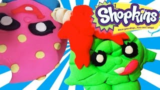 Giant Play-doh ☆shopkins☆! Lolli Poppins ♥ Kooky Cookie ♥ Surprise Play Doh Eggs