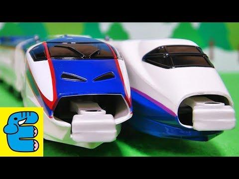 プラレール E3系新幹線つばさ&E2系連結セット Plarail Series E3 Shinkansen Tsubasa & Series E2 Couple Set [English Subs]