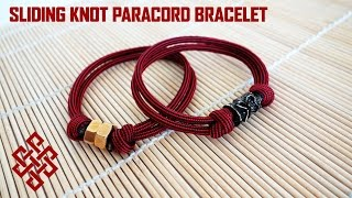How to Make a Sliding Knot Paracord Bracelet with Hex Nut/Bead Tutorial