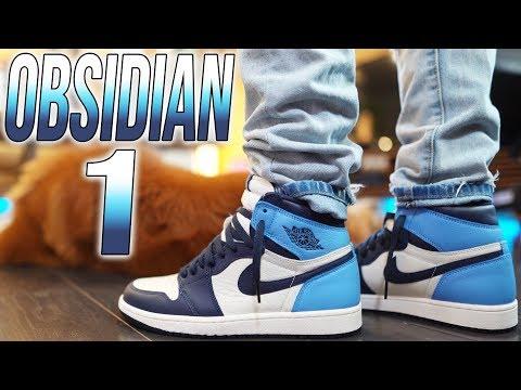 air jordan 1 high obsidian on feet