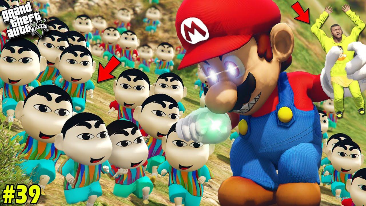 10,000 Shinchan & Pinchan saves Avengers Army From Evil Mario in GTA 5 [PART 39](GTA 5 Mod)