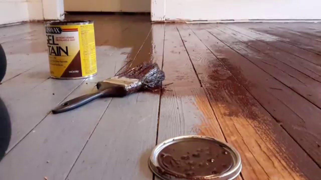 Diy Gel Stain Over Painted Wood Floors   YouTube