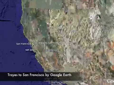 Troyes (FR) to San Francisco (USA - CA) by Google Earth